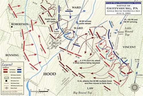 Battle of Gettysburg, Little Round Top & Devil's Den